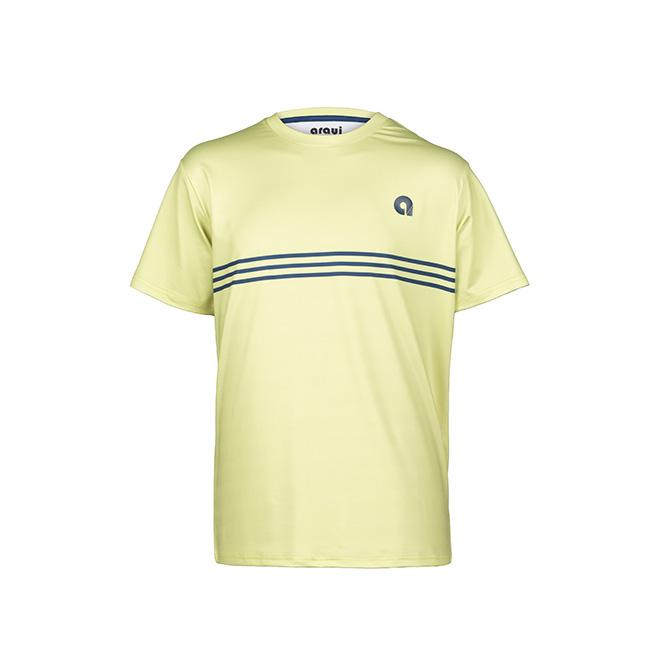 camiseta amarilla con lineas marino